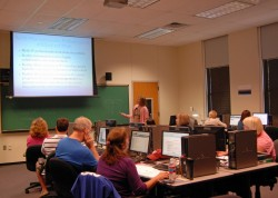 Suzanne Buchele teaches participants in the new program called Computer Technologies for Teachers.