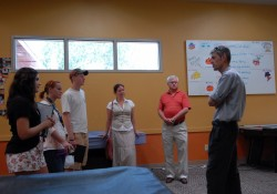 Students from the FYS on philanthropy visit with Daniel Anstee, director of the Boys & Girls Club of Georgetown (right...