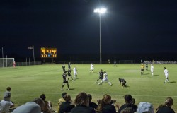 The men's soccer team played its first game under the lights against Millsaps Oct. 7. (Photo by Lucas Adams)