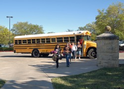 Students from Tippit Middle School arrive on campus for an afternoon of the Operation Achievement program.