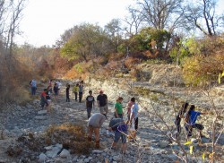 Some enrichment activities take the students off campus, such as this fossil-hunting expedition along the San Gabriel River.