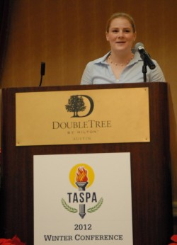 Sarah Ayers speaks to members of TASPA after being recognized as one of the organization's scholarship winners for 2011-2012.