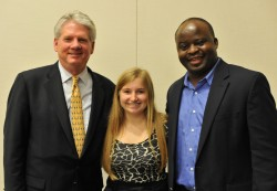 "Allie Klein stands with Southwestern University President Jake B. Schrum and Rev. ""Guy"" Mande Muyombo, the director of..."