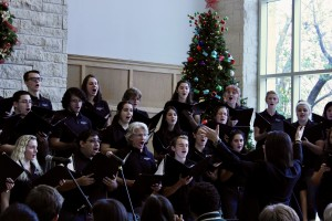 The SU Singers perform in the Bishops Lounge in celebration of the holidays in fall 2019 (prior t...