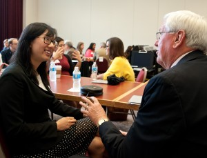 "Twenty-five graduating seniors had the opportunity to practice ""speed networking"" with members of the Board of Visitors as part of the Board's Sept. 19 meeting on campus. Senior Penny Wong is shown here with Dale Knoble, president emeritus of Denison University and a former provost at Southwestern."