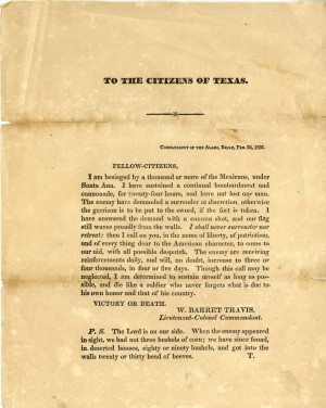 "William Barret Travis' ""Victory or Death"" letter."