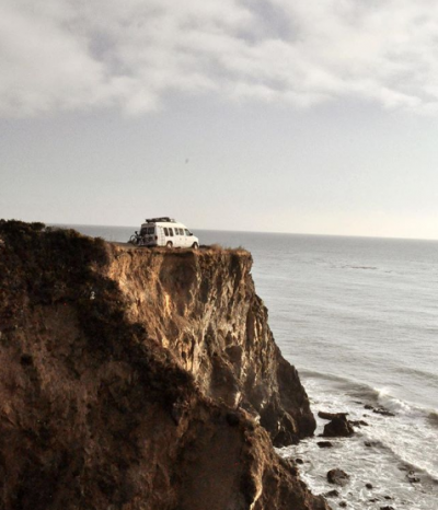 Davis and Eicher's van off the California coast.