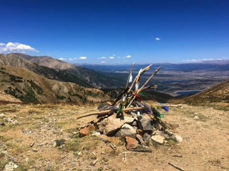 Prayer flags fluttered on the top of Hope Pass, one of the hardest climbs of my hike.