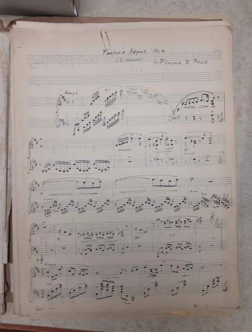 Photograph of page 1 only of Florence B. Price's manuscript of Fantasie Negre no. 4.