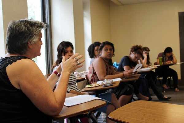 Melissa Johnson, associate professor of anthropology, speaks to students who attended a meeting in March to learn more about the new minor in race and ethnicity studies.