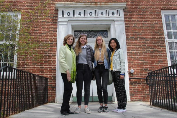 Star Varner, Sophia Anthony '19, Kati Hellmer '19, and Danbi Heo '19 outside the Kennebunkport Post Office.