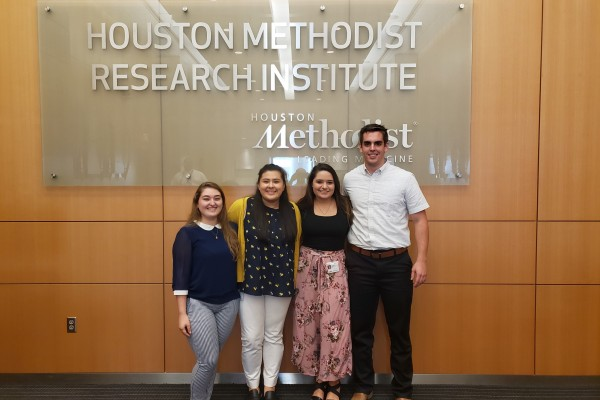 Myriam Ibarra '19, Amey Duarte '21, Kirhyn Stein '20, and Phillip Keys '20 spent the summer as interns at the Houston Methodist Research Institute.