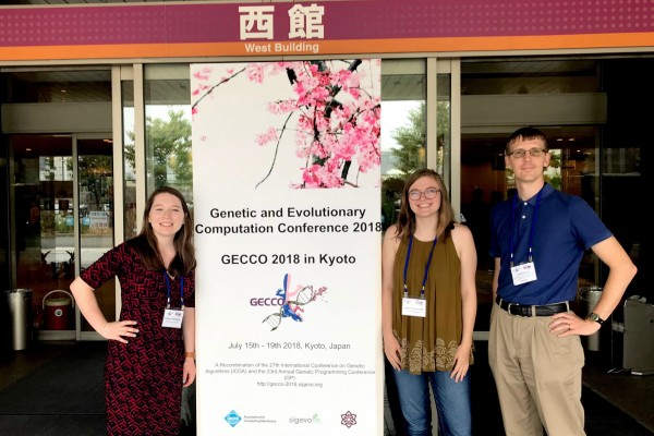 Isabel Tweraser '19 at the Genetic and Evolutionary Computation Conference in Kyoto with Assistant Professor of Computer Science Jacob Schrum and Lauren Gillespie '19.