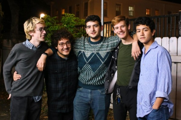 L to R: Mark Fountain '21: SU sophomore, drummer; Ricky Olivares '22: SU freshman, guitarist; Dominic Gomez '21: SU sophomore, bassist; Andrés Garcia, UT sophomore, lead singer and guitar, journalism major; Marco Martinez, St. Edwards freshman, guitarist, vocals, and keyboardist