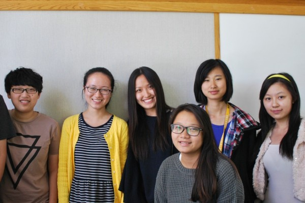 Peter Pang, Zichen Jiang, Peishi Zhao, Lily Liu, Yeats Ye, Ruoying Hao and Grace Yu are among the students from China who started at Southwestern this fall. (Photo by Maritza Robles)