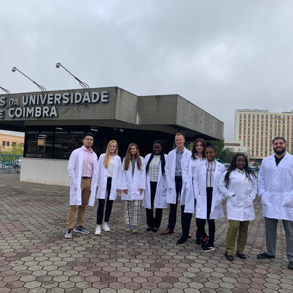 Nyaberi (fourth from left) was selected to engage in a premedical fellowship at Centro Hospitalar e Universitário de Coimbra.
