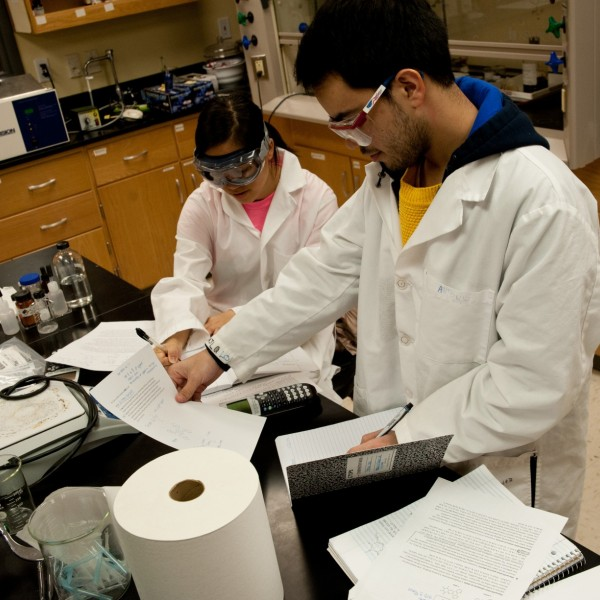 Chemistry professor Gulnar Rawji is using her grant from the ACS to redesign the laboratory component of her Metals in Medicine class. Biochemistry major Tran Le (left) and chemistry major Antonio Lopez (right) are among the students taking the course this semester.