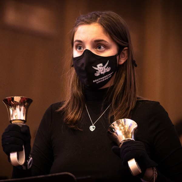 During fall 2020, SU Singers was limited to students only and converted to a handbell choir to assure the health and safety of the performers, director, and audiences.