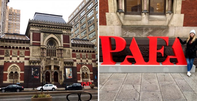 Kati Hellmer '19 outside the PAFA Museum.