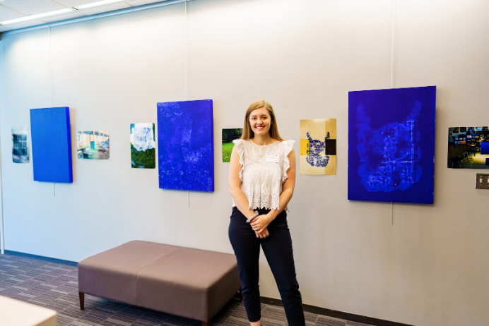 Kati Hellmer's Indices in Ultramarine series presented at Southwestern's 2019 Research and Creati...