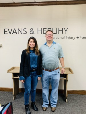 Current intern and Southwestern student Laura Rativa '20 with Chip Evans '94.
