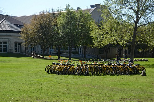 "More than 60 Pirate Bikes were roped off on March 21 for the ""Day Without Pirate Bikes."""