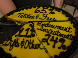 This delicious (although misspelled) cookie cake helped show students what the University budget it made up of.