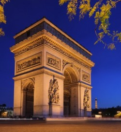 The Arc de Triomphe, at the center of the place Charles de Gaulle in Paris, provides a view toward the western edge of Par...