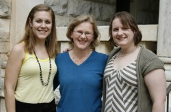Erin Osterhaus (left) and Carolyn Acker (right) with German Professor Erika Berroth.
