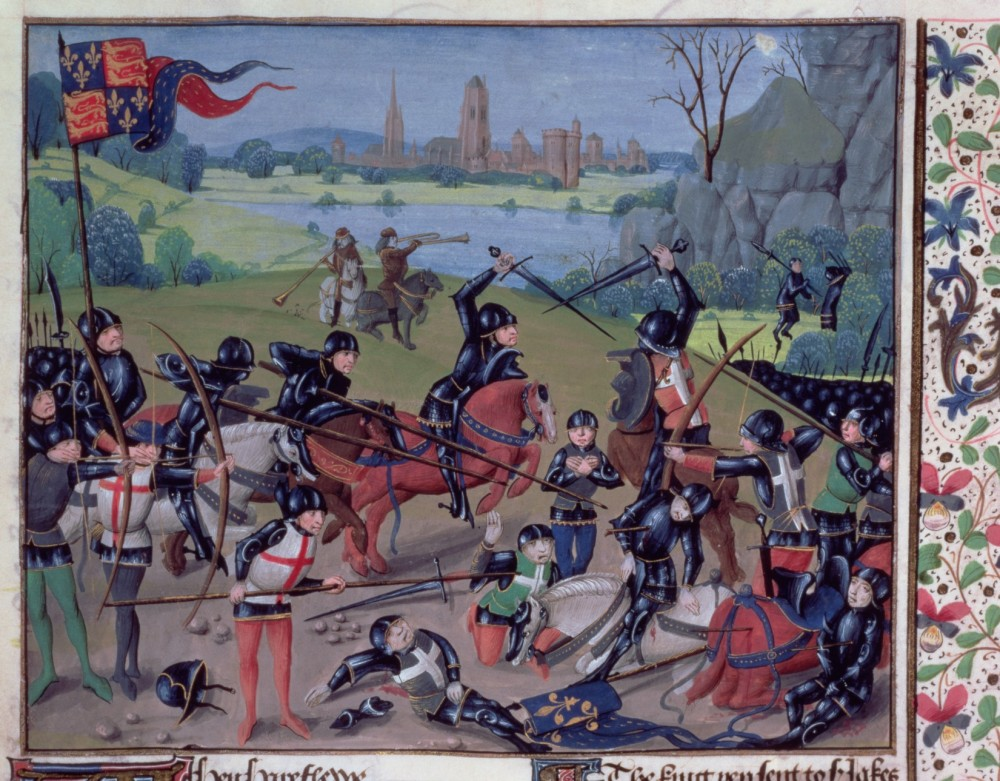 "Battle of Agincourt, 1415, from the ""St. Alban's Chronicle"" (15th century)."
