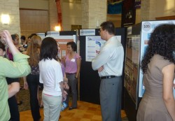 GIS Student presenting at Student Works Symposium