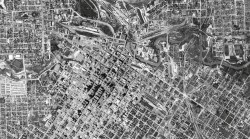 Downtown Houston, Texas in 1944. Historical Aerial Image georeferenced in GIS