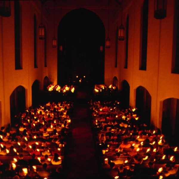 "Each December, the Chapel hosts a Candlelight Service to celebrate the Season of Advent. The services are adapted from ""An Advent Service of Lessons and Carols"" in The United Methodist Church Book of Worship, and are based on one developed in 1934 for the chapel of King's College, Cambridge."