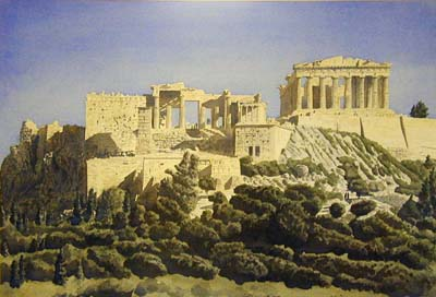 Parthenon, watercolor, TNHowe, 1987
